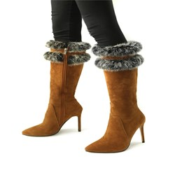 Shoespie Suede Pointed Toe Knee High Boots