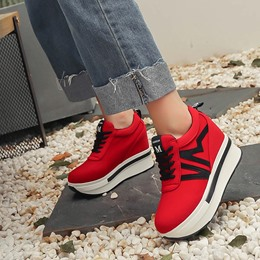 Shoespie Lace-Up Platform Low Upper Wedge Sneakers