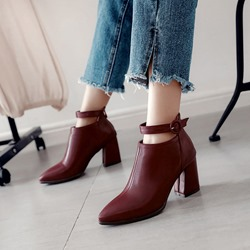 Shoespie Buckle Chunky Heel Ankle Boots
