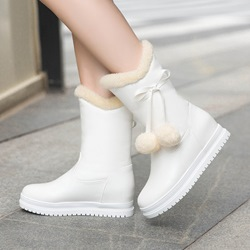 Cute Bowknot Platform Slip-On Hidden Heel Snow Boots