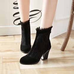 Shoespie Black Sexy Purfle Ankle Boots