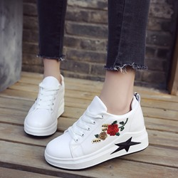 Embroidery Platform Black & White Wedge Sneakers