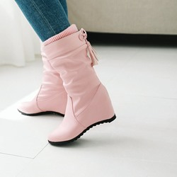 Shoespie Casual Lace-Up Hidden Heel Ankle Boots
