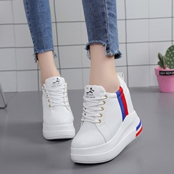 Shoespie Lace-Up Platform Wedge Sneakers