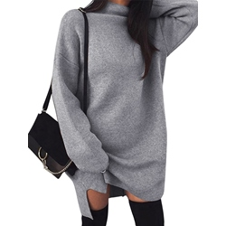 Split Turtleneck Above Knee Color Block Women's Sweater Dress