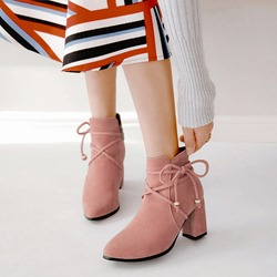 Shoespie Cute Bowtie Suede Ankle Boots