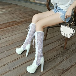 Platform Lace Hollow Sexy High Heel Boots