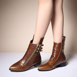 Buckle Fashion Pointed Toe Ankle Boots