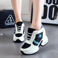 Shoespie Color Block Lace-Up Wedge Sneakers
