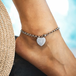 Letter Heart-Shaped Stainless Steel Anklets