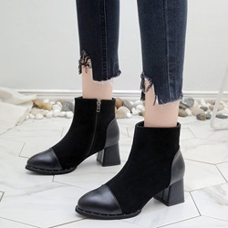 Black Side Zipper Casual Ankle Boots