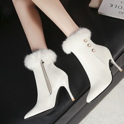 Shoespie Bead Purfle Suede Ankle Boots