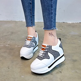 Shoespie Lace-Up PU Color Block Wedge Sneakers