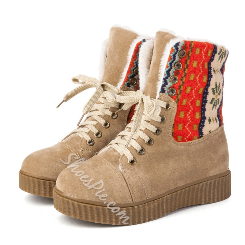 Shoespie Platform Lace-Up Snow Boots