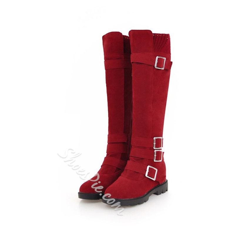 Shoespie Buckle Slip-On Casual Knee High Boots