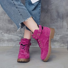 Shoespie Round Toe Lace-Up Ankle Boots