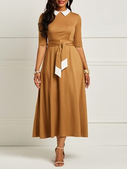 Shoespie Polyester Pleated Women's Maxi Dress