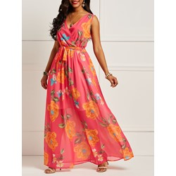 Shoespie Chiffon Floral V Neck Women's Maxi Dress