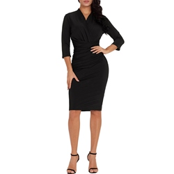 Shoespie Polyester Pullover V Neck Women's Bodycon Dress