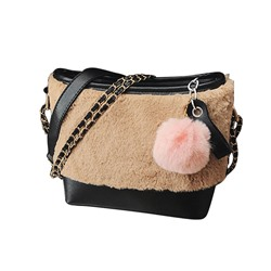 Shoespie Rabbit Hair Patchwork Zipper Women Shoulder Bag