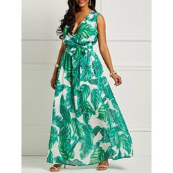 Shoespie Chiffon Print Plant Women's Maxi Dress