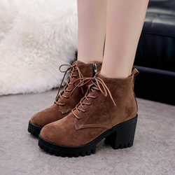 Shoespie Casual Platform Lace-Up Ankle Boots