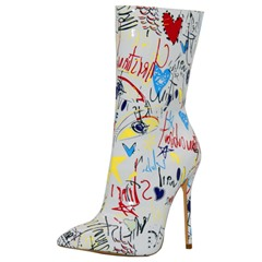 Shoespie Cute Print White Pointed Toe High Heel Boots
