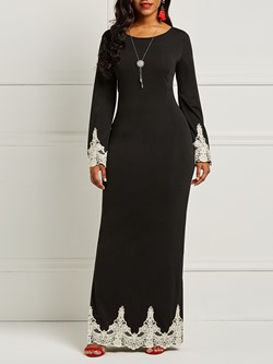 Long Sleeve Pullover Lace Plain Women's Maxi Dress