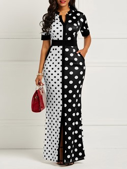 Shoepsie Polka Dots Color Block Women's Maxi Dress