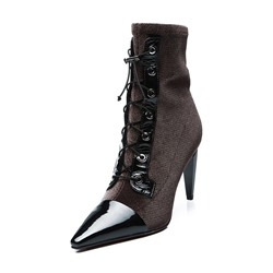 Shoespie Stylish Elastic Band Lace Up Ankle Boots