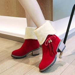 Shoespie Fringe Platform Lace-Up Casual Snow Boots