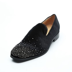 Shoespie Black Suede Rhinestone Men's Loafers