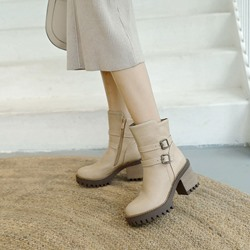 Shoespie Casual Rivet Buckle Ankle Boots