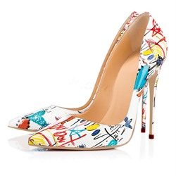 Shoespie White Stylish Print Stiletto Heels