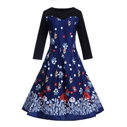 Long Sleeve Polyester Vintage Women's Maxi Dress
