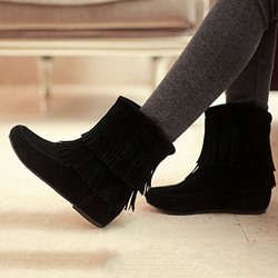 Shoespie Fringe Slip-On Ankle Boots
