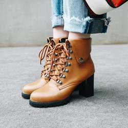Shoespie Casual Lace-Up Front Ankle Boots