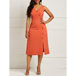 Shoespie Orange Pullover V Neck Women's Bodycon Dress