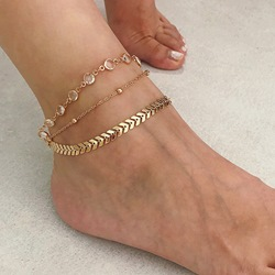 Simple Sequins Beads Multilayer Anklets