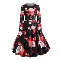 Knee-Length Print Polyester Women's Maxi Dress