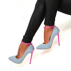 Shoespie Light Blue Line-Style Buckle Sexy Stiletto Heels
