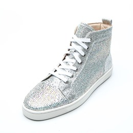 Shoespie Silver Rhinestone Lace-Up High Upper Men's Sneakers