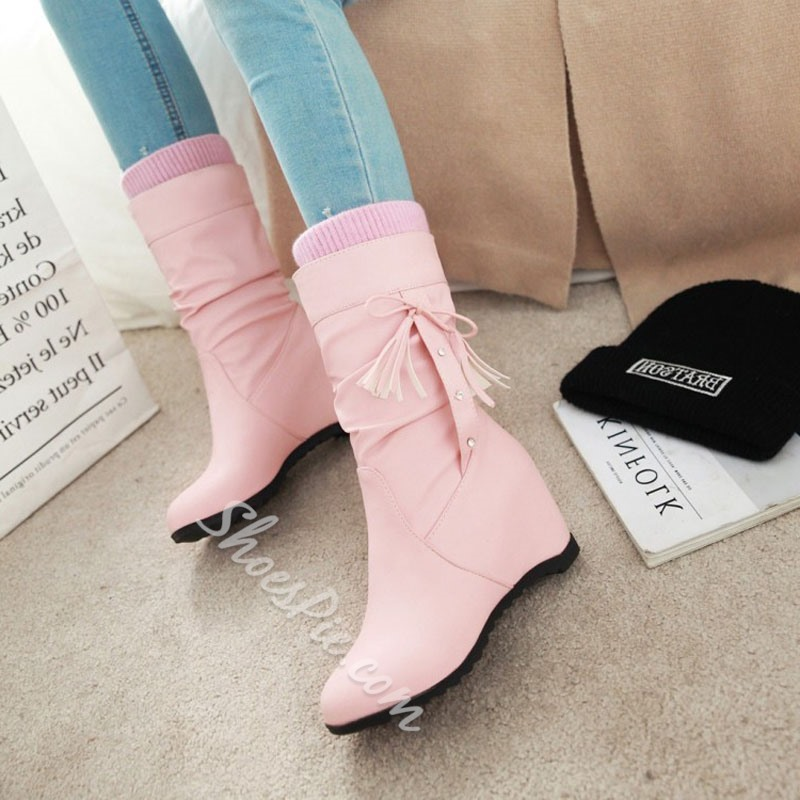 Shoespie Fringe Lace-Up Slip-On Wedge Heel Ankle Boots