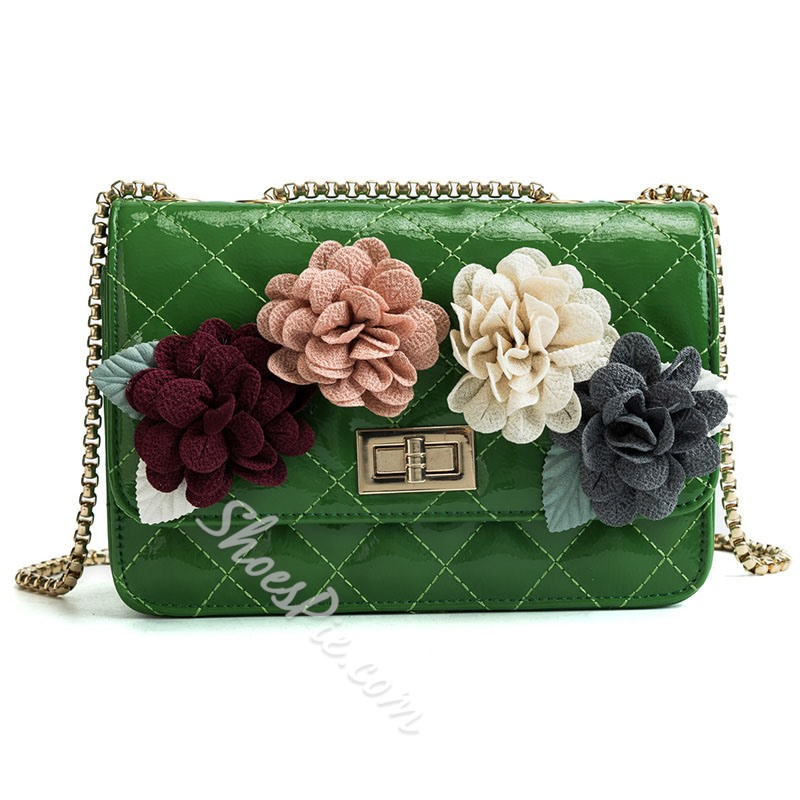 Shoespie Floral Quilted Lining Applique Women Handbag