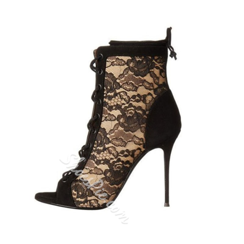 Shoespie Sexy Black Hollow Lace Ankle Boots
