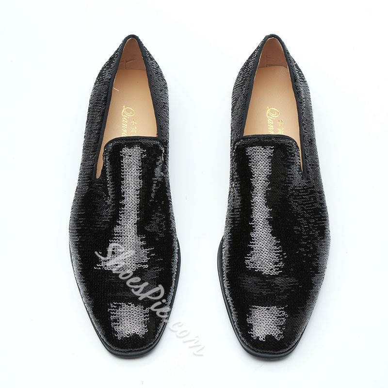 Shoespie Black Sequin Slip-On Men's Loafers