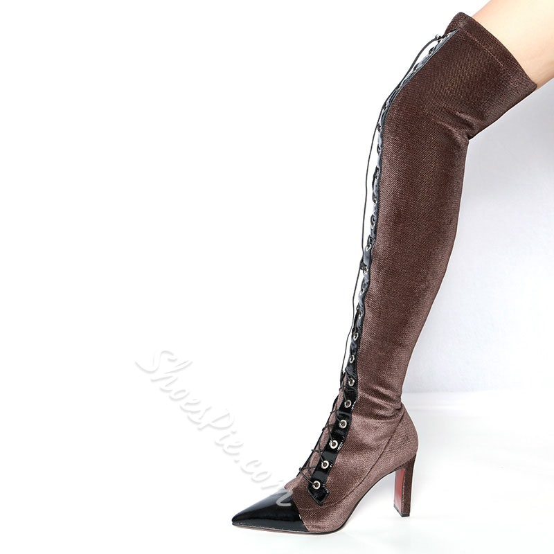 Shoespie Fashion Cross Strap Thigh High Boots