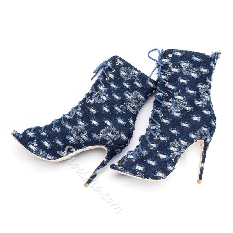 Shoespie Blue Hollow Worn Canvas Peep Toe Ankle Boots