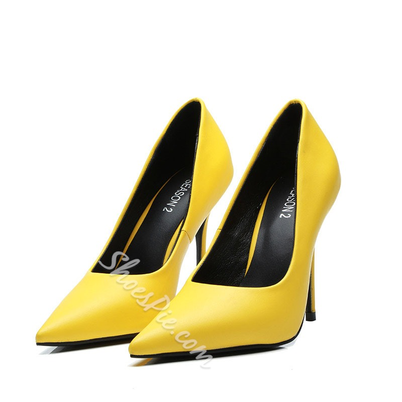 Shoespie Yellow Pointed Toe Stiletto Heels