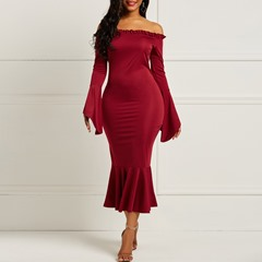 Shoespie Flare Sleeve Plain Backless Women's Maxi Dress